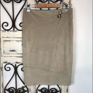 Cato tan faux suede pencil skirt